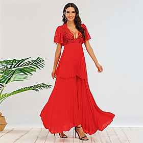 Women's A-Line Dress Maxi long Dress - Short Sleeve Solid Color Fall V Neck Sexy Party 2020 Red XS S M L XL