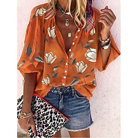 Women's Blouse Shirt Floral Flower Long Sleeve Patchwork Print Shirt Collar Tops 100% Cotton Basic Basic Top White Black Orange
