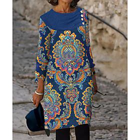 Women's Sheath Dress Knee Length Dress - 3/4 Length Sleeve Floral Print Spring Fall Elegant 2020 Blue M L XL XXL 3XL