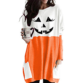 Women's Halloween Blouse Shirt Pumpkin Long Sleeve Round Neck Tops Loose Basic Top Black Red Wine