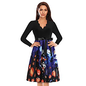 Women's A-Line Dress Knee Length Dress - Long Sleeve Print Lace up Patchwork Fall V Neck Casual Halloween 2020 Blue S M L XL XXL 3XL