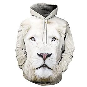 couples animal printed long sleeve kangaroo pocket sweatshirt lion xl