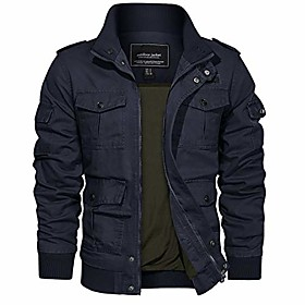 men's jackets-classic fit zip up cotton training jackets outwear (navy m)