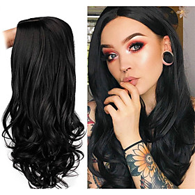Synthetic Wig Body Wave Middle Part Wig Long Very Long Light golden Wine Red PinkRed Black Synthetic Hair 65 inch Women's Party Highlighted / Balayage Hair Mid