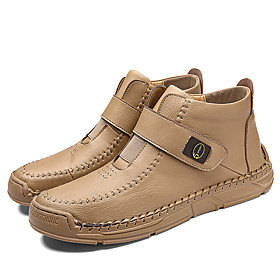 Men's Boots Work Boots Casual / British Outdoor Office  Career Walking Shoes Faux Leather Non-slipping Wear Proof Dark Brown / Black / Khaki Spring / Fall