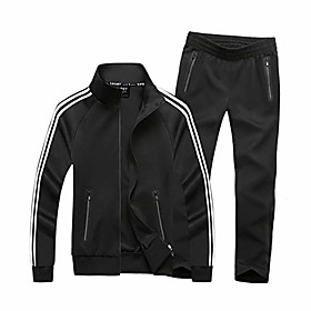 men's athletic tracksuit set full zip casual sports jogging gym sweat suits black