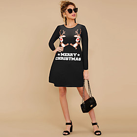 Women's A-Line Dress Short Mini Dress - Long Sleeve Animal Letter Patchwork Print Spring Fall Casual Christmas 2020 Black Red S M L XL XXL 3XL