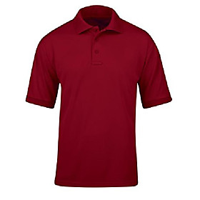 men's uniform polo-short sleeve, red, x-small