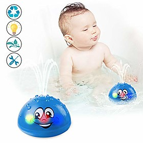 bath toys, water spray toys for kids baby bath toys for toddlers led light up bathtub toys for toddlers sprinkler bath toy baby shines bath toy baby toys-blue Package Dimensions:10.010.07.5; Listing Date:09/19/2020