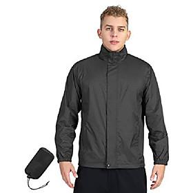 men's lightweight raincoat packable rain jacket waterproof raincoat with hood active outdoor windbreaker (black new, l (chest: 42-44))