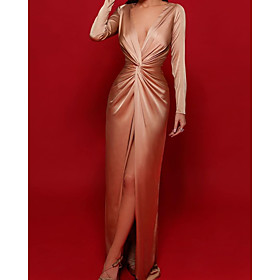 Sheath / Column Reformation Amante Sexy Wedding Guest Formal Evening Dress V Neck Long Sleeve Sweep / Brush Train Charmeuse with Ruched Split 2020