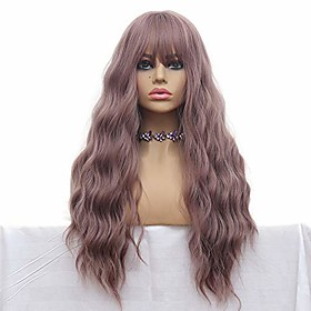 long wave wigs light purple mix yellow color hair thin bangs full heat resistant synthetic wig for women 28 inches natural curly wave air bang replacement wig