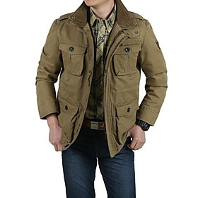 men's casual military windbreaker jacket cotton stand collar field coat with shoulder straps khaki
