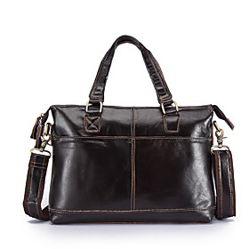 Men's Bags PU Leather Briefcase Zipper for Office  Career Black