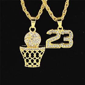 Men's Clear Cubic Zirconia Necklace Long European Hip Hop Chrome Gold 70 cm Necklace Jewelry 2pcs For Halloween Sport Masquerade Street Festival