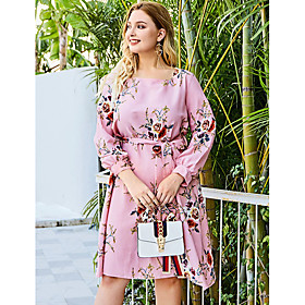 Women's Shift Dress Knee Length Dress - Long Sleeve Floral Print Fall Square Neck Casual Mumu Slim 2020 Blushing Pink XL XXL 3XL 4XL
