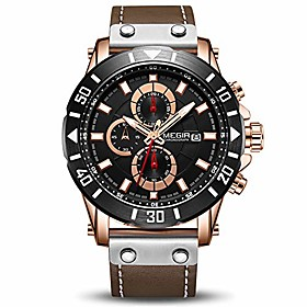 men's analog business quartz chronograph luminous watch with stylish black leather strap blue face for sports (2081 rose/black)
