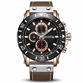 men's analog business quartz chronograph luminous watch with stylish black leather strap blue face for sports (2081 rose/black)