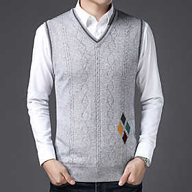 Men's Basic Knitted Geometric Pullover Long Sleeve Sweater Cardigans V Neck Fall Light gray Dark Gray Gray