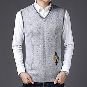 Men's Basic Knitted Geometric Pullover Long Sleeve Sweater Cardigans V Neck Fall Light gray Dark Gray Gray