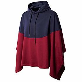 men's casual pullover hoodies bat sleeves hooded cloak phocho cape coat,blue,xx-large