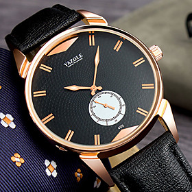 Men's Dress Watch Quartz Stylish Casual Large Dial Analog Black Black / Brown Brown / One Year / Leather