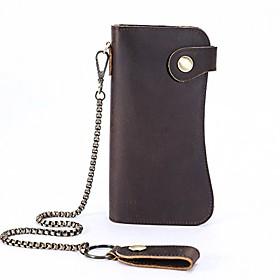 men's leather wallets chain wallet bifold card holder purse vintage bikers wallet
