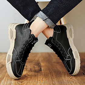 Men's Boots Casual / British Athletic Daily Running Shoes / Walking Shoes Cowhide Breathable Shock Absorbing Black / Khaki Fall / Winter