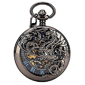 men's dragon engraving vintage steampunk skeleton mechanical pocket watch with chain