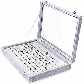 bracelet amp; jewelry organizer tray- see through lid- black velvet -for organzing amp; decluttering bracelets, bangles amp; watches, rings amp; earrings-jewel