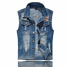 butamp; #39;s sleeveless jacket button down casual lapel denim vest ripped hole plus size amp; #40;stars stripe, xl- tag 4xl bust 43amp; #41;