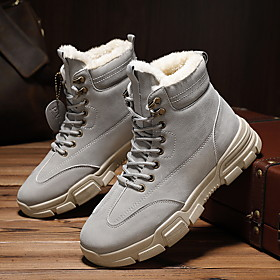 Men's Boots Casual Outdoor Walking Shoes PU Breathable Warm Non-slipping Black / Khaki / Gray Winter