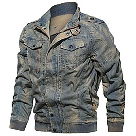 men's casual long sleeve zip lightweight military flight cotton bomber jacket (x-large, blue)
