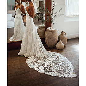 Sheath / Column Wedding Dresses Scoop Neck Watteau Train Lace Sleeveless Country Beach with Appliques 2020
