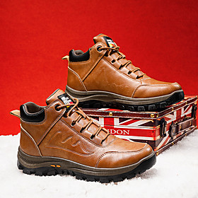 Men's Boots Casual Outdoor Walking Shoes PU Breathable Non-slipping Wear Proof Black / Brown Winter