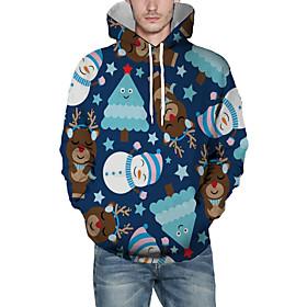 Men's Christmas Pullover Hoodie Sweatshirt 3D Graphic Animal Christmas Hoodies Sweatshirts  Blue
