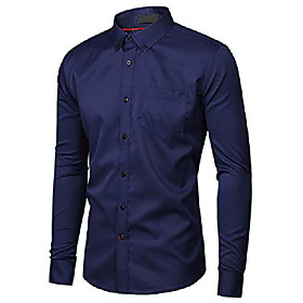 dress shirt slim fit casual solid elastic button down long sleeve formal navy blue business shirt x-large