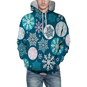 Men's Christmas Pullover Hoodie Sweatshirt Print 3D Graphic Christmas Hoodies Sweatshirts  Navy Blue