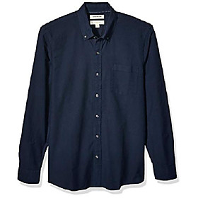 amazon brand - men's the perfect oxford shirt slim-fit long-sleeve solid, navy xx-large