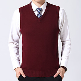 Men's Basic Wedding Knitted Braided Solid Color Pullover Acrylic Fibers Cotton Sleeveless Sweater Cardigans V Neck Spring Fall Black Purple Wine