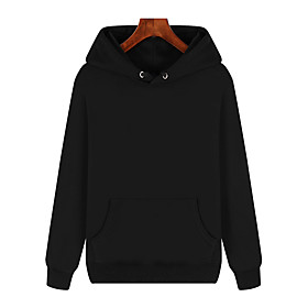 Men's Hoodie Front Pocket Hoodie Cotton Solid Color Sport Athleisure Pullover Long Sleeve Warm Soft Comfortable Everyday Use Daily General Use / Winter