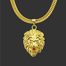 Men's Pendant Necklace Long Necklace Classic Lion Vintage Fashion Zircon Gold Plated Chrome Gold 76 cm Necklace Jewelry 1pc For Christmas Halloween Party Eveni