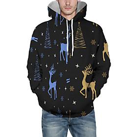 Men's Christmas Pullover Hoodie Sweatshirt 3D Graphic Reindeer Christmas Hoodies Sweatshirts  Black