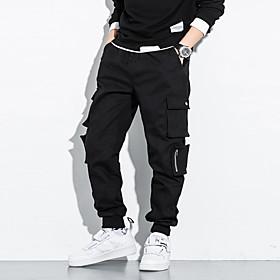 Men's Chinos Pants Solid Colored Black XXL 3XL 4XL