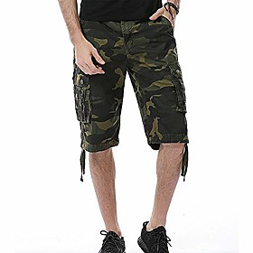 butamp; #39;s cotton multi-pocket loose fit camo cargo short-dark army green-38