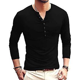 men's casual slim fit basic henley long sleeve t-shirt (small, black)