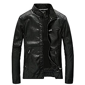men's leather jacket stand collar slim pu mens faux fur coats motorcycle jacket