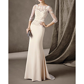 Mermaid / Trumpet Elegant Cut Out Engagement Formal Evening Dress Illusion Neck 3/4 Length Sleeve Sweep / Brush Train Stretch Satin with Beading Lace Insert 20