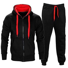 Men's Activewear Set Sweatshirt Color Block Hoodies Sweatshirts  Black and Blue Dark Gray and Blue Navy / Red