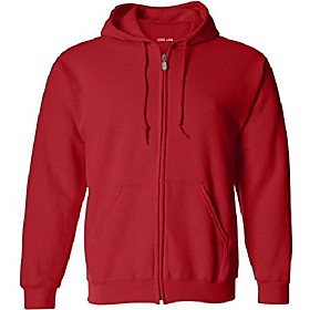 (tm mens tall fleece full-zip hooded sweatshirts-red-lt